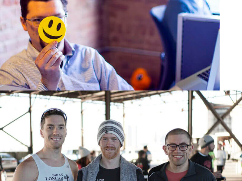 Two images, one with man holding smily face sticker, the other 3 men at race.